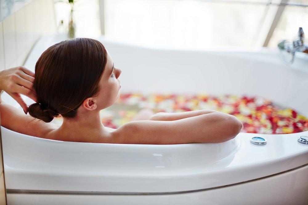 woman in relaxing bath